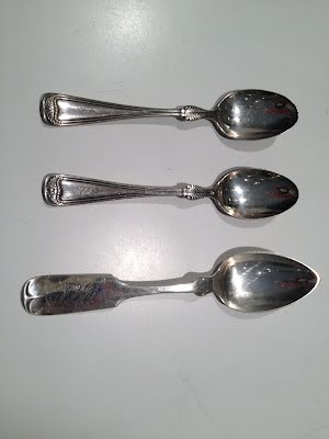"3 silver spoons engraved ""GEL"" and ""GL"""