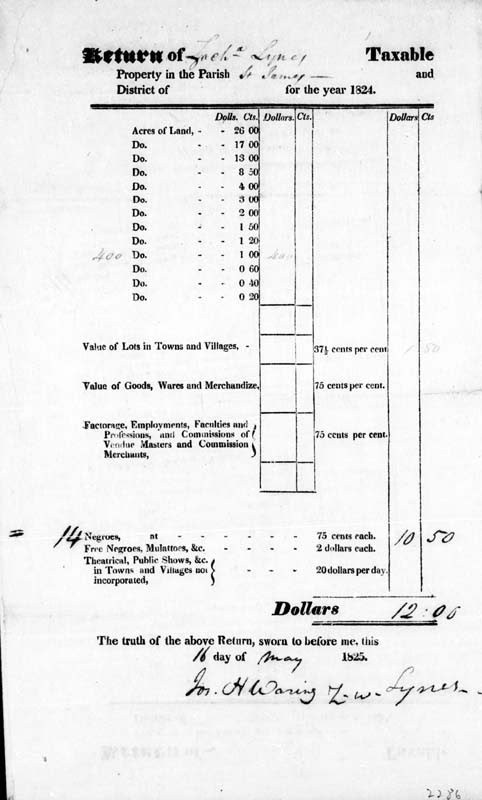 Zachariah Lynes 1824 Tax Return St. James Goose Creek South Carolina