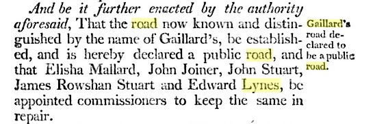 Gaillard Road Edward Lynes appointed commissioner 1792
